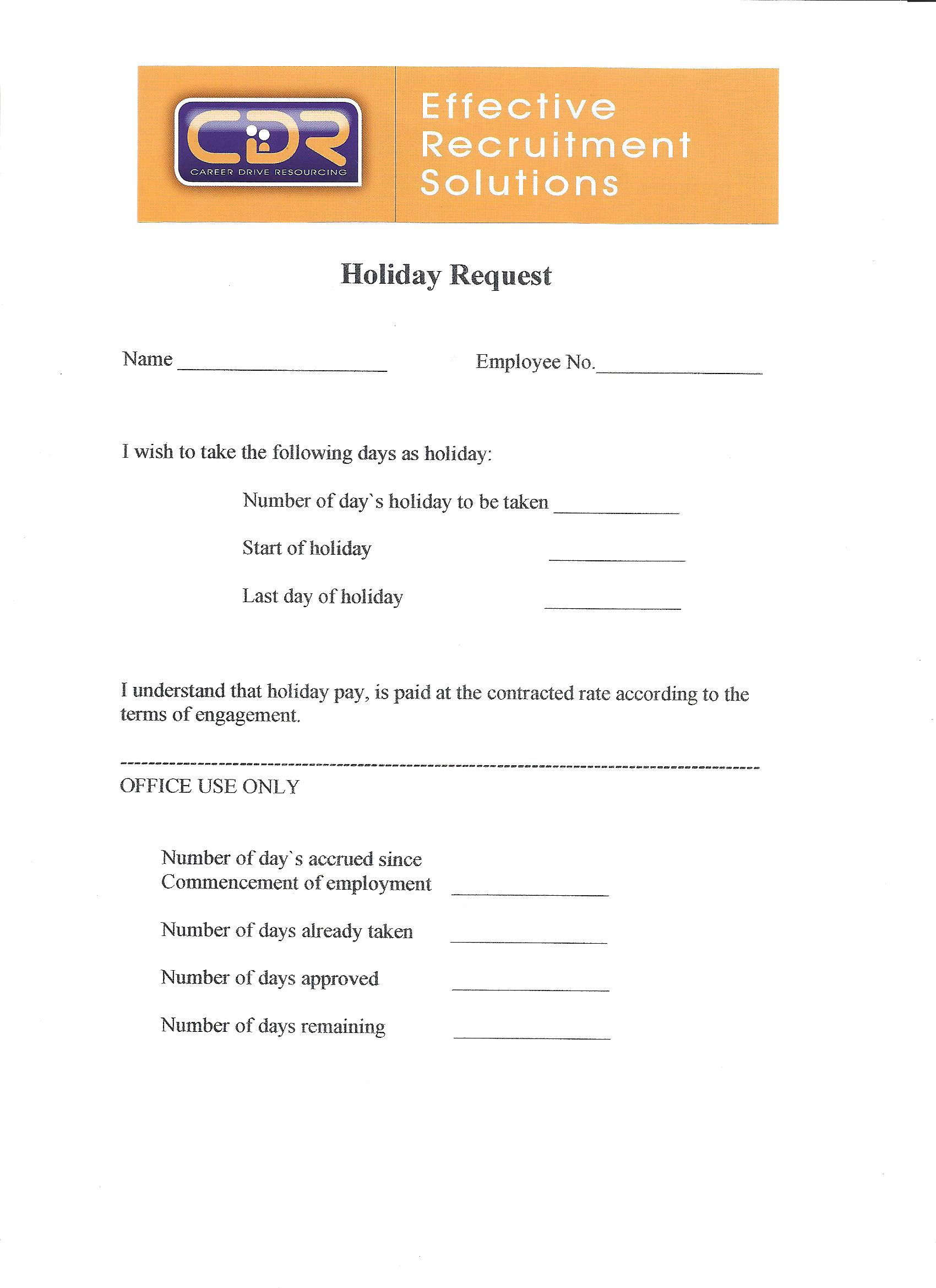 Doc780500 Holiday Request Form 10 holiday request form – Recruitment Request Form